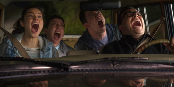 """Odeya Rush, left, Ryan Lee, Dylan Minnette and Jack Black in a scene from the motion picture """"Goosebumps."""" CREDIT: Hopper Stone, Columbia Pictures [Via MerlinFTP Drop]"""