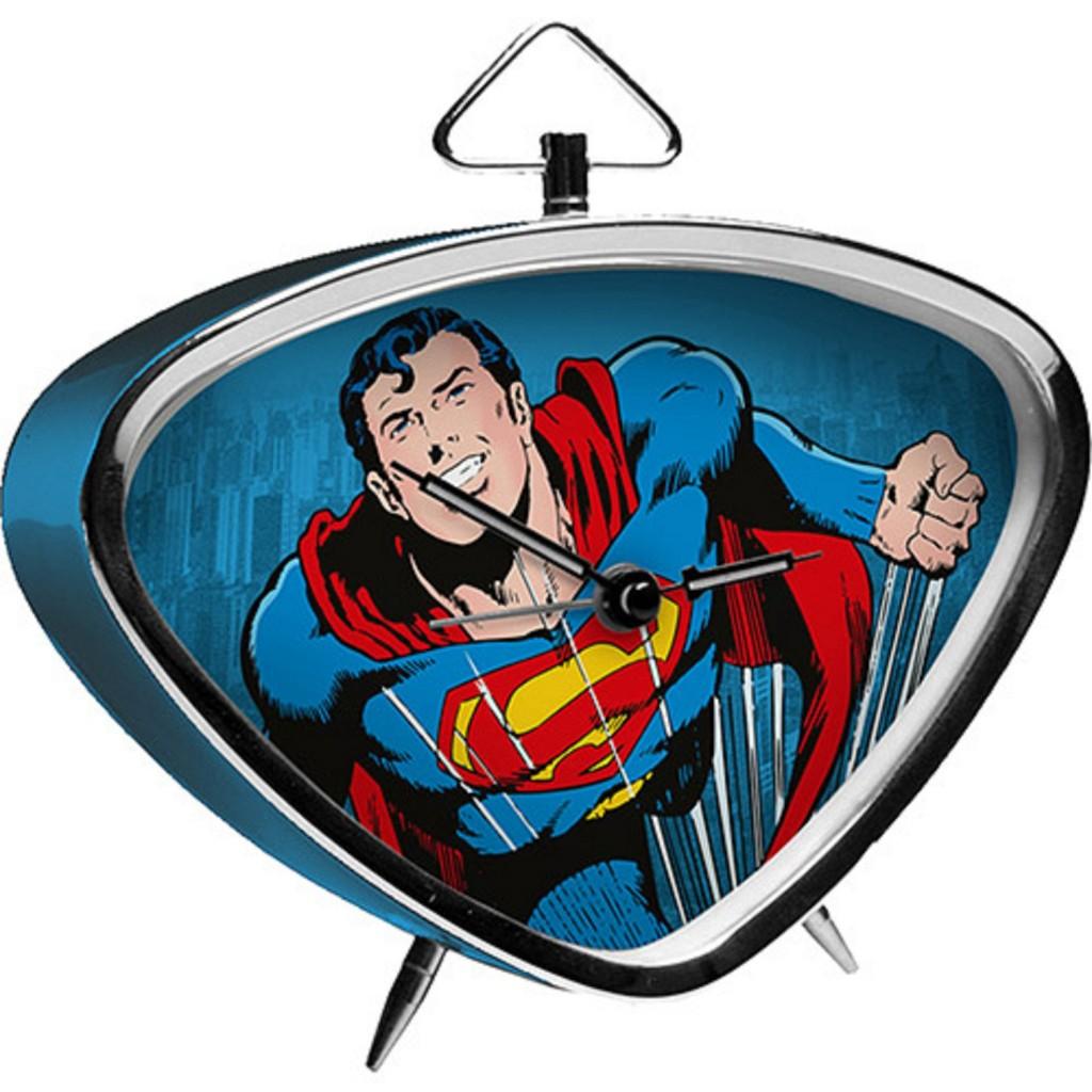 Relógio de Mesa Metal Triangular Superman Flyeng Fdg Azul - R$ 69,99
