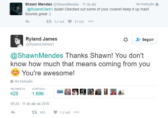 Shawn Mendes elogia @RylandJames1